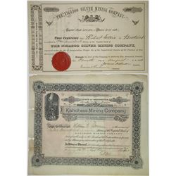 Canadian & Washington State Mining Stock Certificate Pair, ca.1881 to 1903.