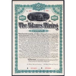 Adams Mining Co., 1887 Specimen Bond
