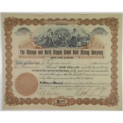 Chicago and North Creek Gold Mining Co., 1896 I/U Stock Certificate.