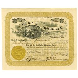 G.A.R. Gold Mining Co., 1896 I/U Stock Certificate