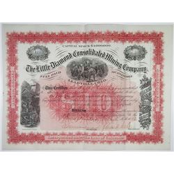 Little Diamond Consolidated Mining Co. 1882 I/U Stock Certificate