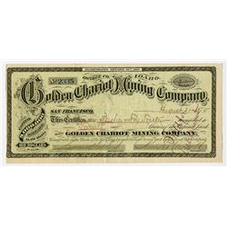Golden Chariot Mining Co., 1875 I/U Stock Certificate.