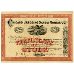 Chicago Dredging Sand & Mortar Co. 1872 Stock Certificate