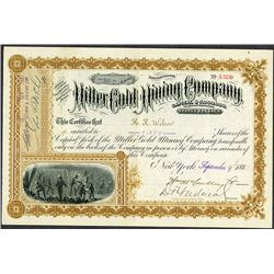 Miller Gold Mining Co. 1881 I/U Stock Certificate.