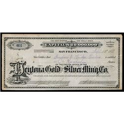 Peytona Gold and Silver Mining Co. 1872 Stock Certificate.
