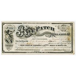 Rye Patch Consolidated Mill & Mining Co., 1874 Issued Stock Certificate