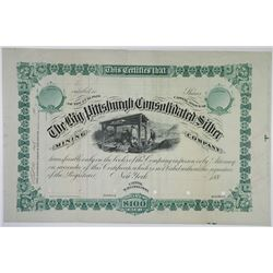 Big Pittsburgh Consolidated Silver Mining Co. Production Specimen Stock Certificate