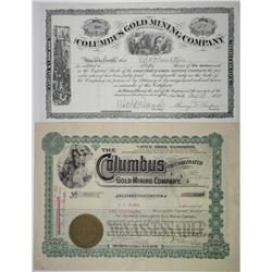 Columbus Gold Mining Co. 1880 & 1905 Stock Certificate Pair