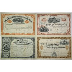 State Line Gold Mining Co. 1881 and 1882 Stock Certificate Quartet