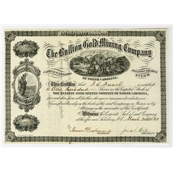 Bullion Gold Mining Co. of North Carolina 1880 Stock Certificate