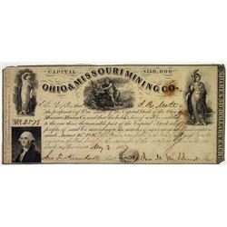Ohio & Missouri Mining Co., 1847 I/U Stock Certificate