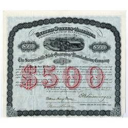 Saegersville Slate Quarrying and Manufacturing Co. 1888 I/U Coupon Bond