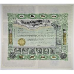 Great Cariboo Gold Company, 1908 I/U Stock Certificate.