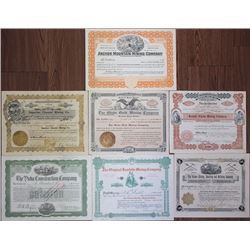 Nevada, Dakota Territory and California 1906 to 1918 Group of 7 Mining Stock Certificates