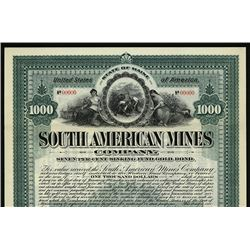 South American Mines Co. 1905 Specimen Bond