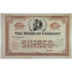 Mohican Co., 1890's Specimen Stock Certificate.