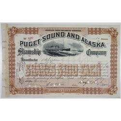 Puget Sound & Alaska Steamship Co. 1890 I/C Stock Certificate