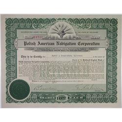 Polish American Navigation Corp., 1920 I/U Stock Certificate