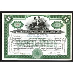 Argonaut Salvage Corp. ME. 1920 I/U Stock Certificate Signed by Simon Lake, Submarine Designer Pione