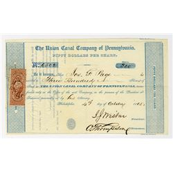 Union Canal Co. of Pennsylvania 1865 Stock Certificate