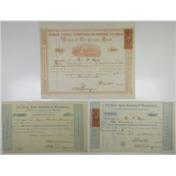 Union Canal Company of Pennsylvania, 1857, 1865 & 1866 I/U Stock Certificate Trio.