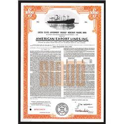 American Export Lines, Inc. Specimen Bond. 1961.