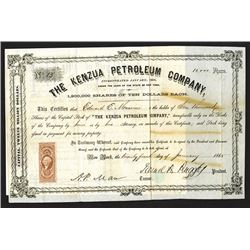 Kenzua Petroleum Co. 1865 I/U Stock Certificate.