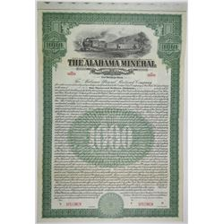 Alabama Mineral Railroad Co. 1890 Specimen Bond Rarity