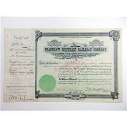 Bradshaw Mountain Railroad Co., 1905 Issued Stock Certificate.