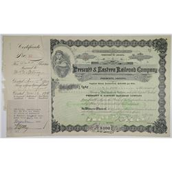 Prescott & Eastern Railroad Co. 1920 I/C Stock Certificate