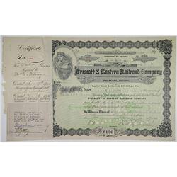 Prescott & Eastern Railroad Co. 1920 I/C Stock Certificate