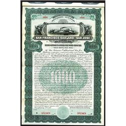 San Francisco, Oakland and San Jose Railway, 1906 Specimen 2nd Mortgage 5% Gold Coupon Bond.