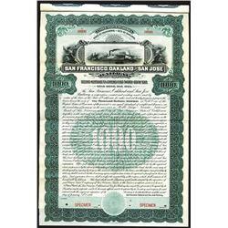 San Francisco, Oakland and San Jose Railway, 1906 Specimen 2nd Mortgage 5% Gold Coupon Bond.