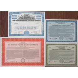 Western Pacific Railroad Co. Quartet of Specimen Certificates 1939-1950