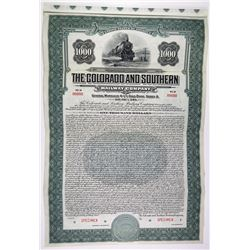 Colorado and Southern Railway Co. 1930 Specimen Bond