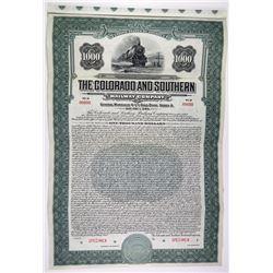 Colorado and Southern Railway Co. 1930 Specimen Bond