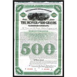 Denver and Rio Grande Railroad Co., 1886, $500 Specimen Bond.