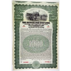Denver and Salt Lake Railroad Co. 1913 Specimen Bond