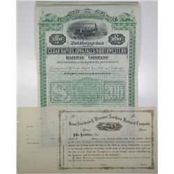 Iowa, Minnesota & Dakota 1880's Railroad Stock Certificate and Bond Pair