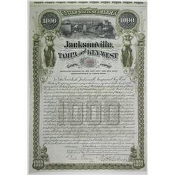 Jacksonville, Tampa & Key West Railway Co. 1890 I/U Bond