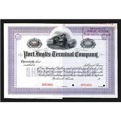 Port Ingles Terminal Co., ca.1900 Specimen Stock Certificate.