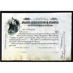 Atlanta, Birmingham & Atlantic Railway Co. 1900-20 Progress Proof Stock Certificate.