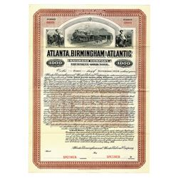 Atlanta, Birmingham and Atlantic Railroad Co., 1906 Specimen Bond