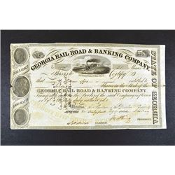 Georgia Rail Road & Banking Co., 1849 I/C Stock Certificate