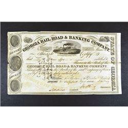 Georgia Rail Road & Banking Co., 1849 I/C Stock Certificate