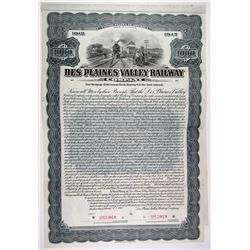 Des Plaines Valley Railway Co. 1912 Specimen Bond Rarity