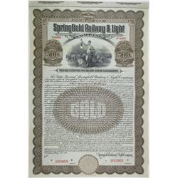 Springfield Railway and Light Co., 1911 Specimen Bond