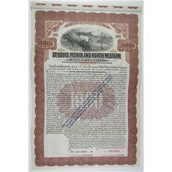 St. Louis, Peoria and North Western Railway Co. 1913 Specimen Bond Rarity