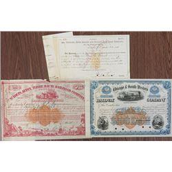 Railroad IR Stock & Bond Certificates, 1866-1874 with 5ct & 25ct IR RN's