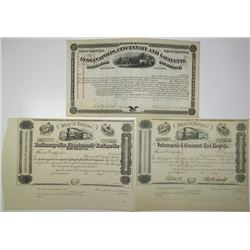 Indiana Stock Certificate Trio ca.1850-70's.